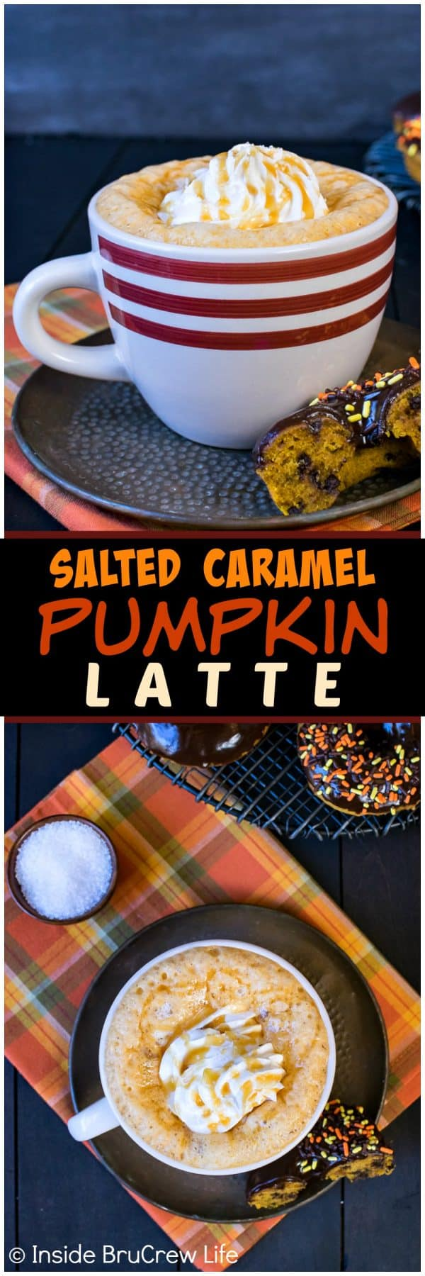 Salted Caramel Pumpkin Latte - this easy coffee drink is loaded with fall flavor. An easy recipe to make at home that will save you money.