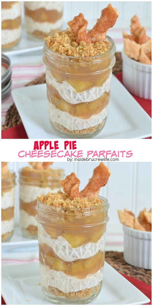 Apple Pie Cheesecake Parfaits - layers of cheesecake, streusel, and homemade pie filling in a jar makes a fun treat. Make these parfaits for summer parties or picnics!