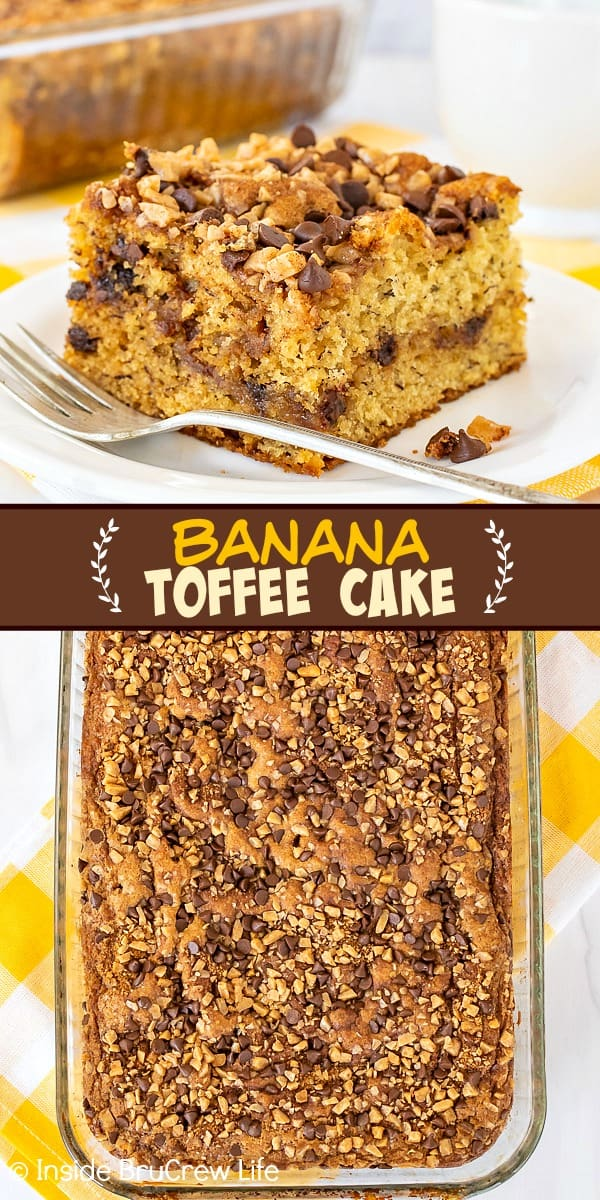 Two pictures of banana toffee cake collaged together with a brown text box