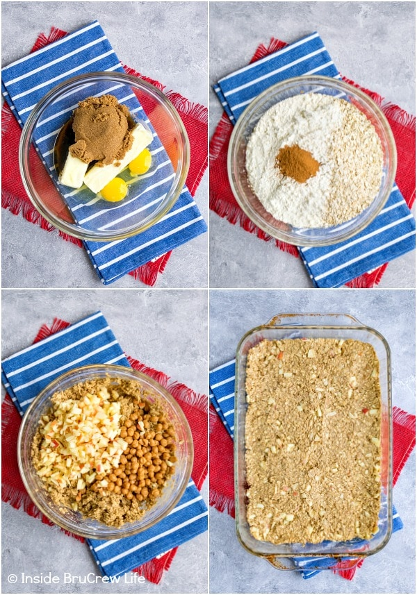 Four pictures collaged together showing how to make caramel apple granola bars