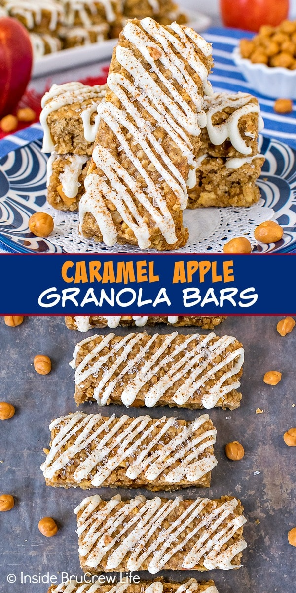 Two pictures of caramel apple granola bars collaged together with a blue text box