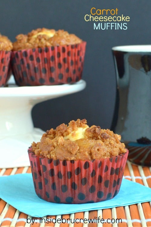 Carrots, cheesecake, and a cereal crumble make these a delicious muffin choice for breakfast.