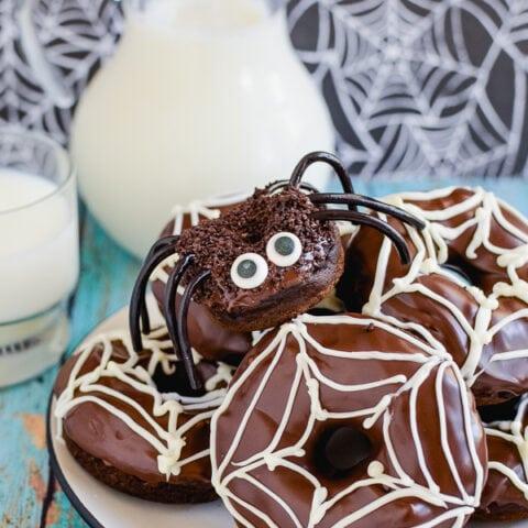 Chocolate Pumpkin Spider Donuts