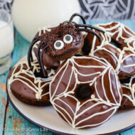 Chocolate Pumpkin Spider Donuts