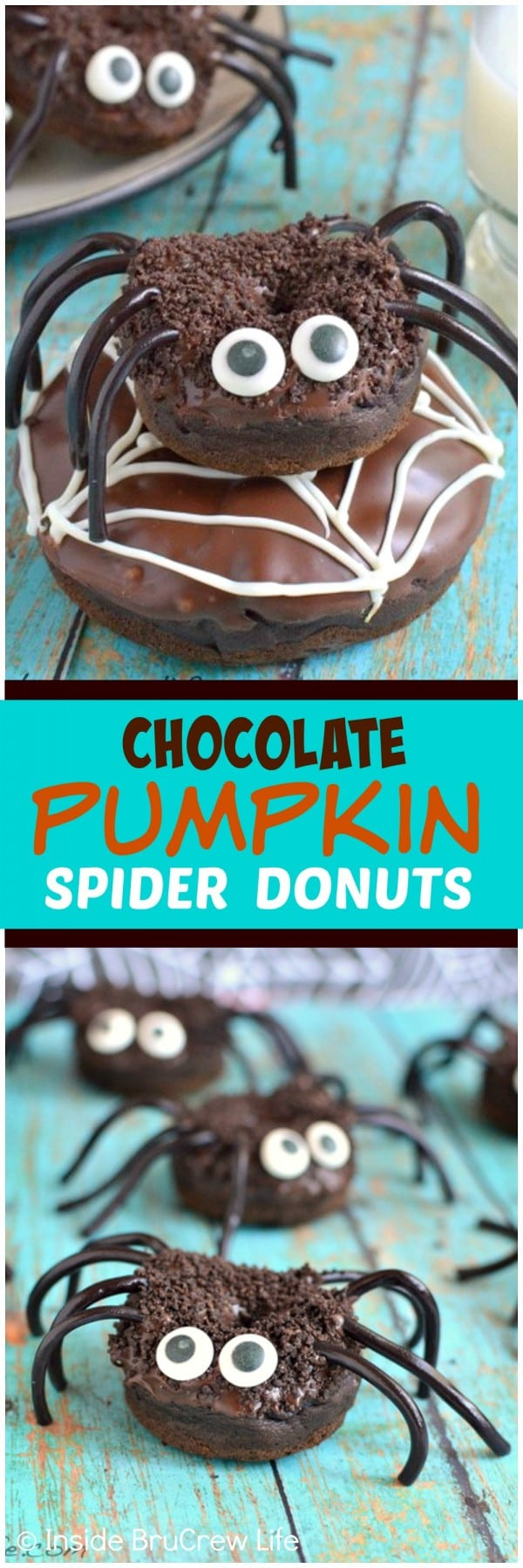 Chocolate Pumpkin Spider Donuts - candy eyes & licorice legs turn these soft donuts into a creepy breakfast treat! Great recipe for Halloween parties!