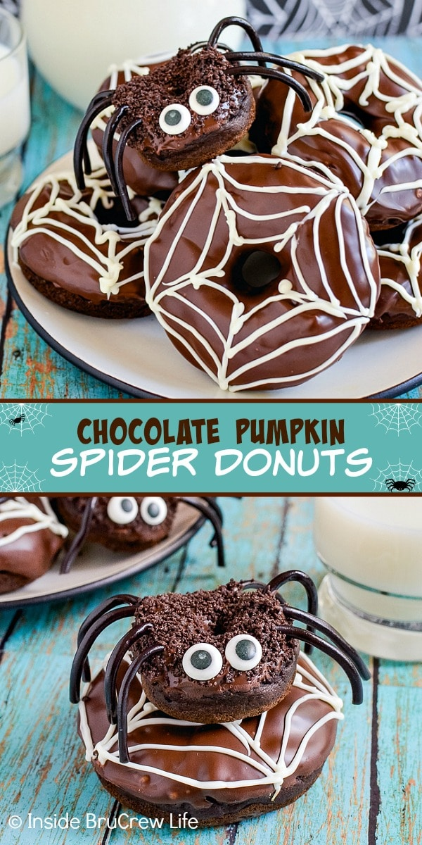 Two pictures of chocolate pumpkin spider donuts collaged together with a teal text box