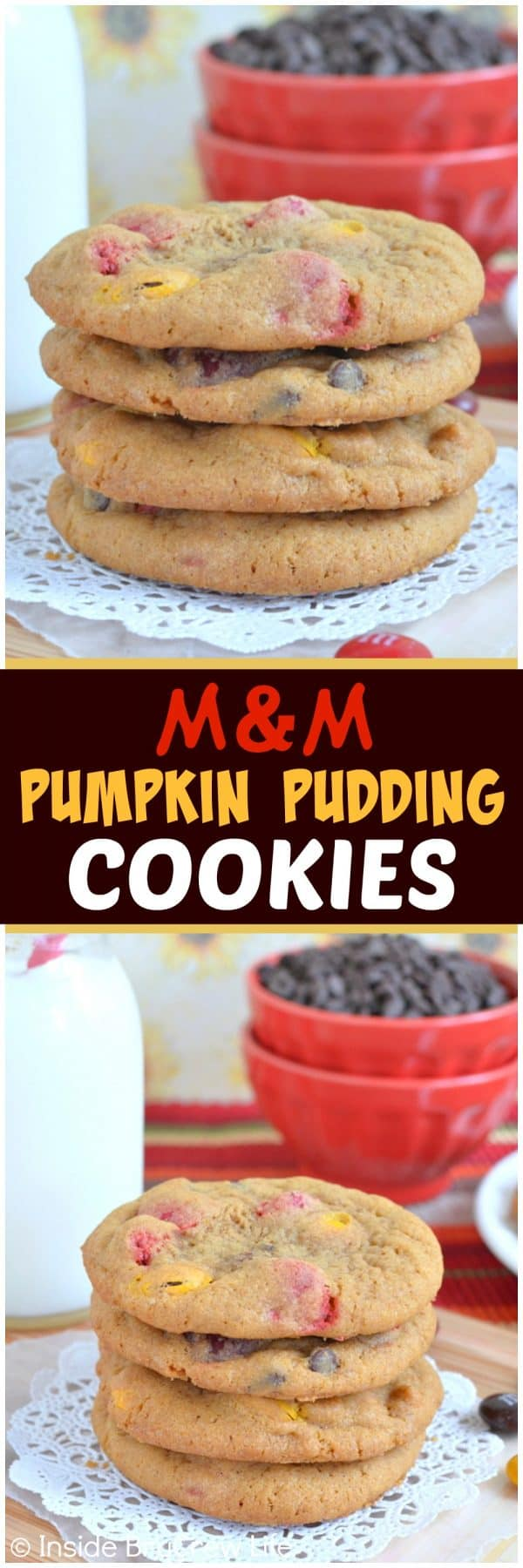 M&M Pumpkin Pudding Cookies - these soft cookies are loaded with chocolate and candies. Great recipe to fill your cookie jar with this fall!