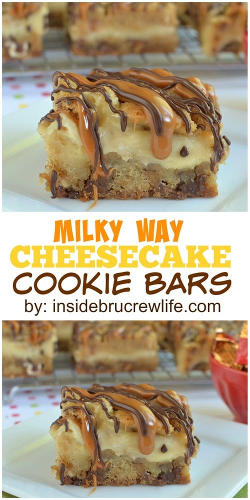 Milky Way Cheesecake Cookie Bars - adding candy bars and caramel drizzles makes these cheesecake cookie bars a must make dessert! Perfect recipe for your sweet tooth! #cheesecake #cookies #caramel #milkyway #candybars