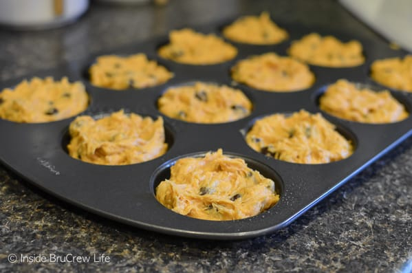 Pumpkin Raisinets Muffin Tops - easy two ingredient fall muffins