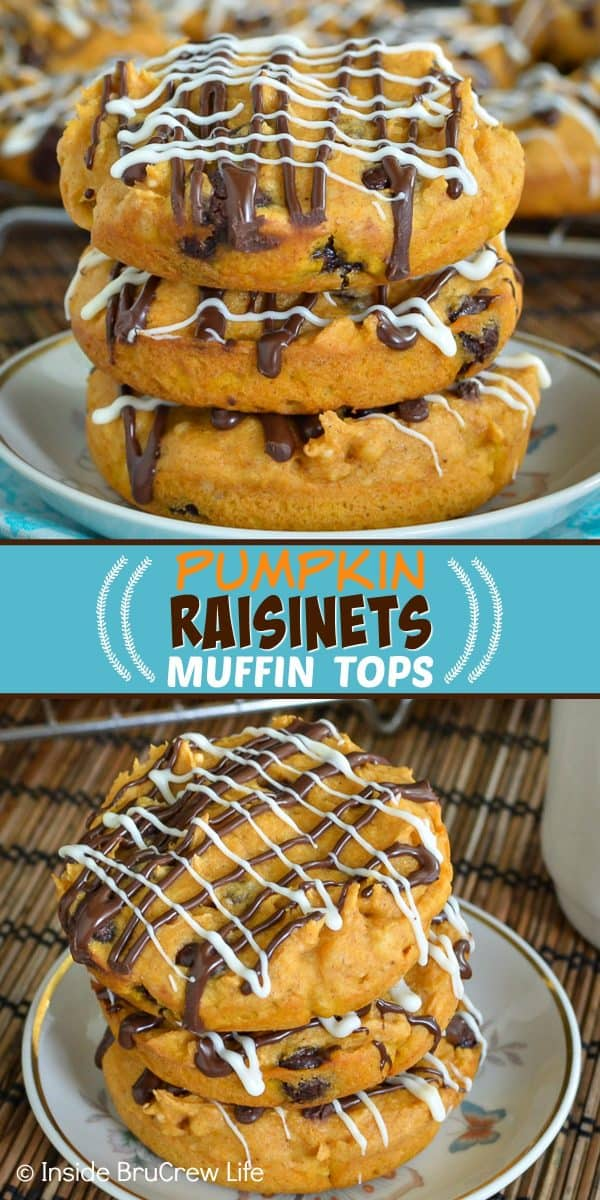 Pumpkin Raisinets Muffin Tops - these easy two ingredient pumpkin muffins are so soft and delicious. Raisinets and extra chocolate drizzles give them a fun look and taste! Try this recipe for breakfast this fall! #muffins #pumpkin #twoingredientmuffins #fall #breakfast #chocolate #raisinets #muffintops