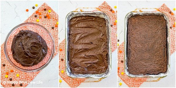 Three pictures collaged together showing brownie batter in a bowl, in a pan, and baked.