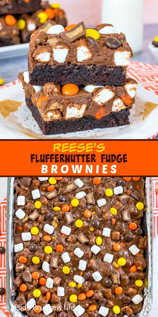 Two pictures of Reese's Fluffernutter Fudge Brownies collaged together with an orange text box
