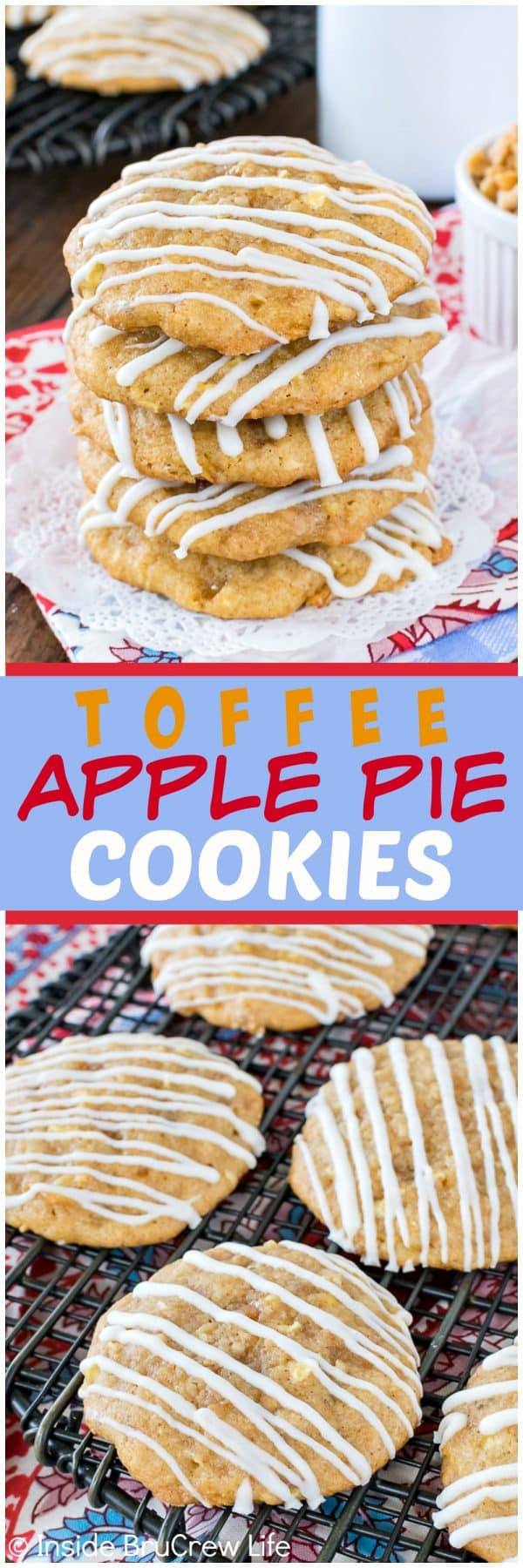 Toffee Apple Pie Cookies - these sweet homemade apple cookies are loaded with fruit, toffee bits and graham cracker crumbs. Great recipe to fill the cookie jar with this fall! #apple #cookies #homemade #fall #toffee #cookiejar #baking