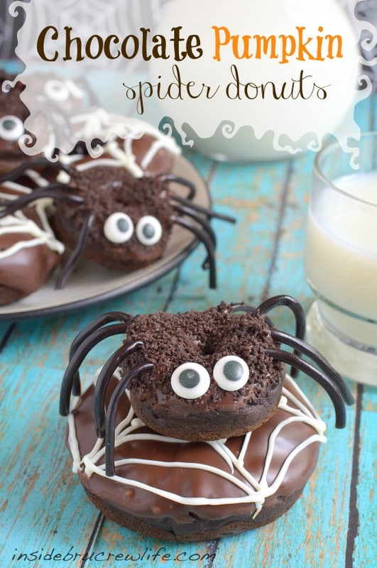 Chocolate Pumpkin Spider Donuts - soft fluffy donuts decorated to look like spiders are a fun holiday treat to share at breakfast. Great recipe for Halloween parties!