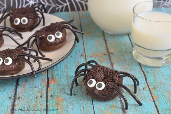 Chocolate Pumpkin Spider Donuts - fall Halloween treat for breakfast