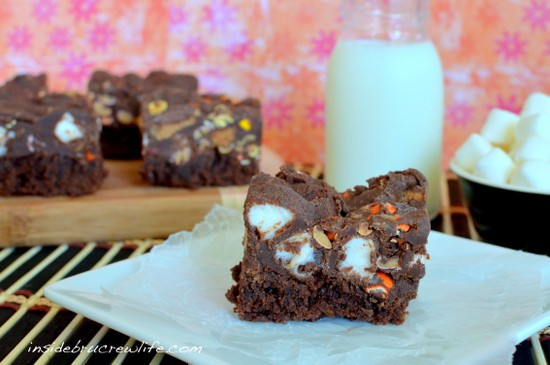 fluffernutter fudge brownies, Reese's Peanut Butter Cups, Reese's Pieces, fudge brownies