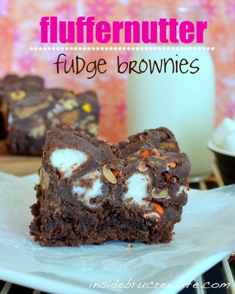 Fluffernutter Fudge Brownies - brownies with fudge and Reese's is the way to go when a chocolate craving hits www.insidebrucrewlife.com