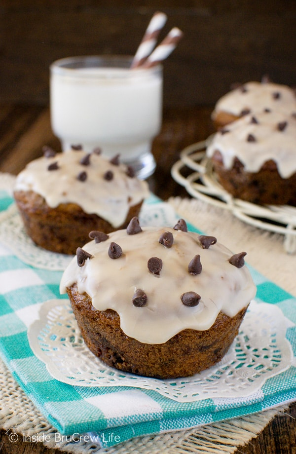 A coffee glaze adds a fun touch to these Chocolate Chip Oatmeal Muffins. This recipe will make you think you are eating cookies for breakfast!
