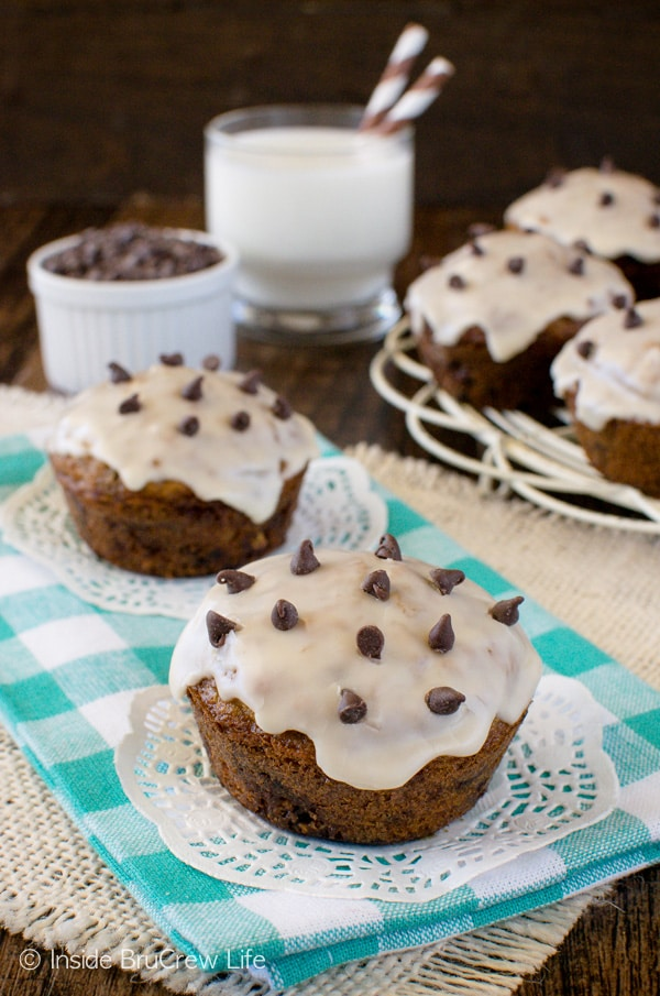 Chocolate and a coffee glaze make these Chocolate Chip Oatmeal Muffins disappear in a hurry! Great breakfast recipe!