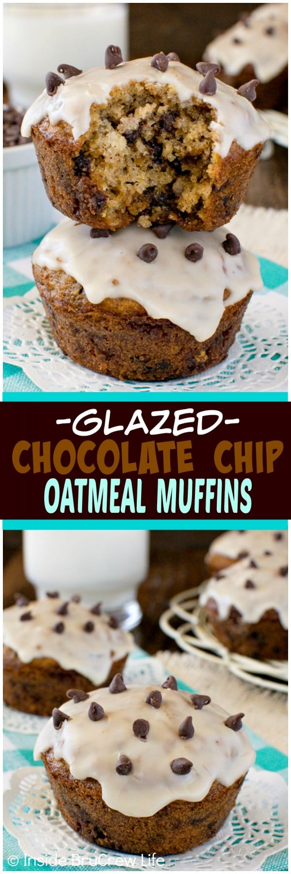 Chocolate Chip Oatmeal Muffins - soft fluffy muffins with a coffee glaze. This awesome breakfast recipe will have you thinking you are eating cookies for breakfast!