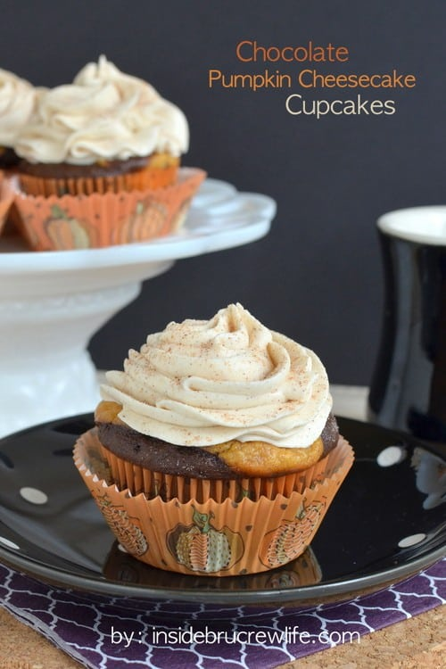 These chocolate cupcakes with a pumpkin cheesecake center and white chocolate cinnamon frosting are perfect for any fall party.