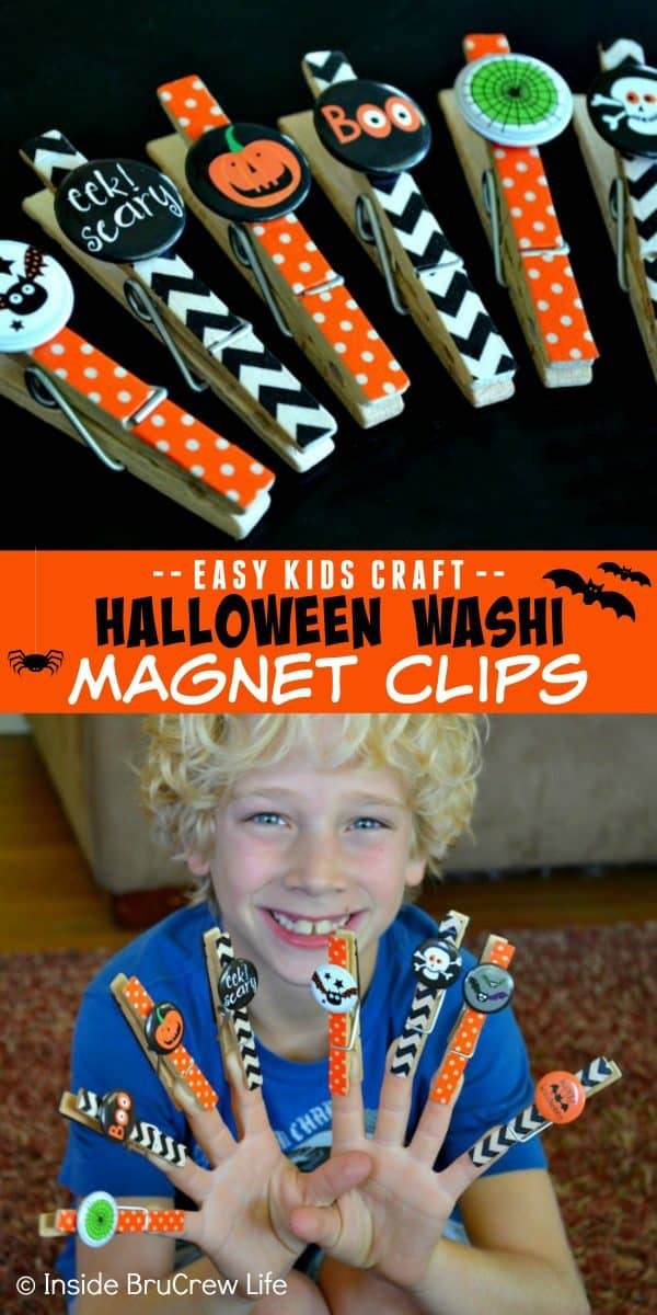 Halloween Washi Magnet Clips - these cute magnets are a cheap and easy kids craft to make this Halloween. This is an easy craft to have kids make at fall parties. #halloween #kidscrafts #magnets #easycraft