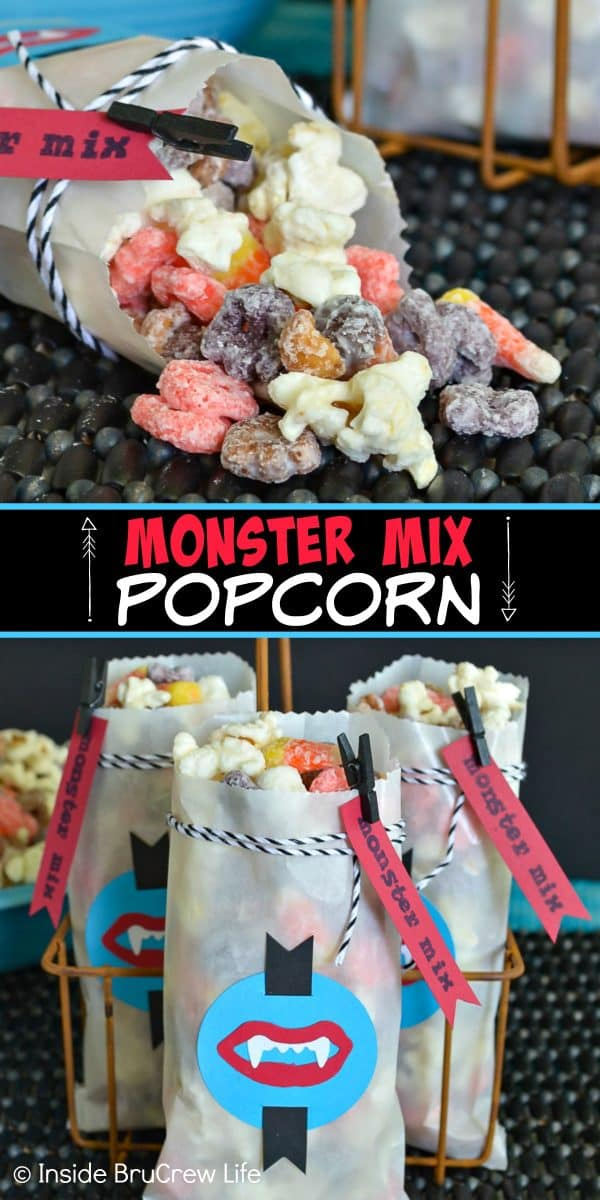 Monster Mix Popcorn - this easy snack mix is loaded with peanuts, candy corn, and cereal. It's a great recipe to make for Halloween parties! #snackmix #popcorn #candycorn #peanuts #whitechocolate #halloween #halloweenparties