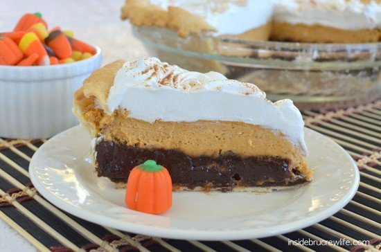 Pumpkin Cheesecake Brownie Pie - 3 layers of fall goodness in one delicious pie. You need to add this to your fall baking list for sure!