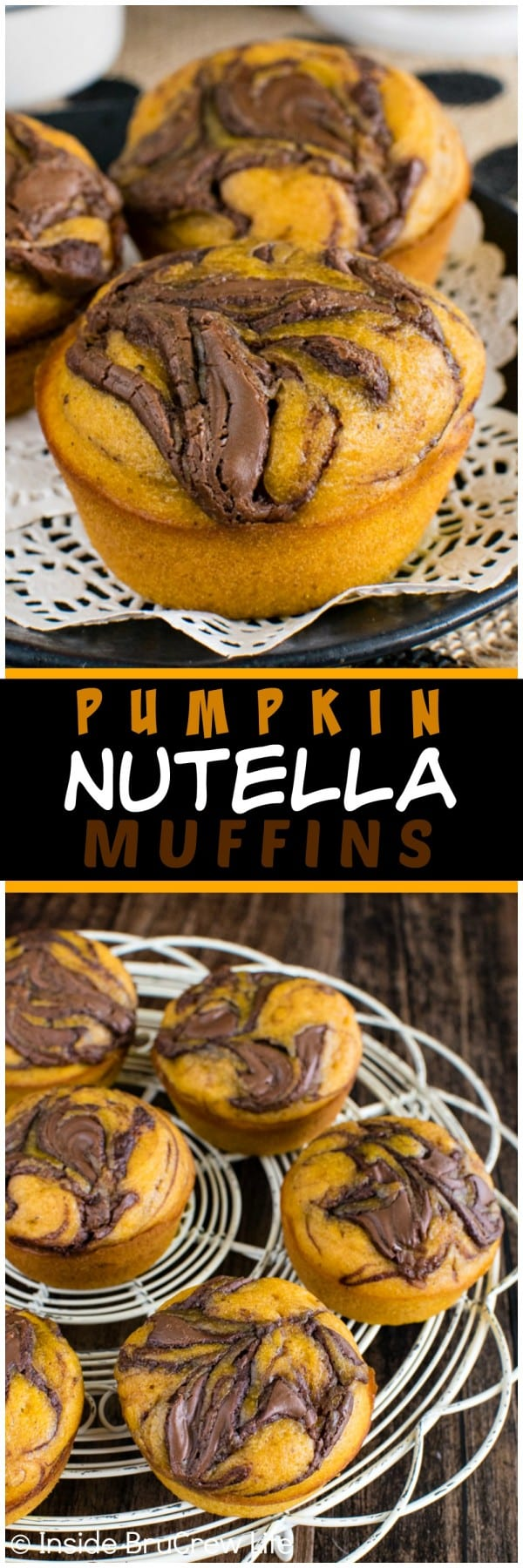 Pumpkin Nutella Muffins - soft pumpkin muffins with a chocolate swirl makes a delicious treat for breakfast or an afternoon snack. Try this awesome recipe this fall. #breakfast #muffins #pumpkin #nutella #fall