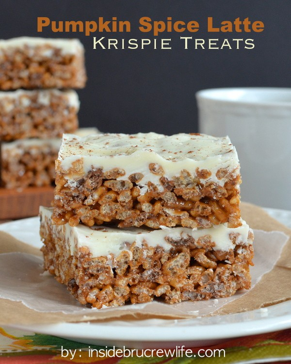 Pumpkin Spice Latte Krispie Treats - rice krispie treats go to a whole new level with pumpkin marshmallows, coffee, and white chocolate