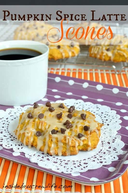 Pumpkin Spice Latte Scones - soft pumpkin coffee scones drizzled with a coffee glaze  #pumpkin #scones #coffee http://www.insidebrucrewlife.com