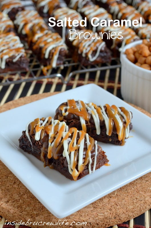 Salted Caramel Brownies - decadent brownies with caramel candies inside and salted caramel and chocolate on top https://www.insidebrucrewlife.com