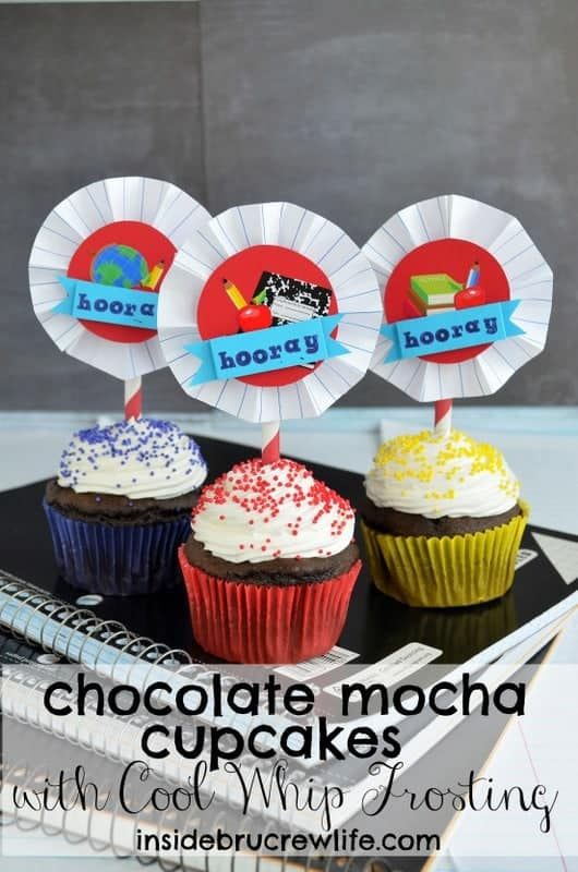 Chocolate Mocha Cupcakes - these easy cupcakes have a fun fluffy frosting and sprinkles. Great cupcake recipe for any party!