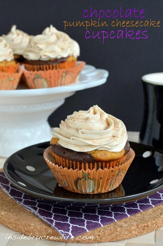 Chocolate Pumpkin Cheesecake Cupcakes - chocolate cupcakes with a pumpkin cheesecake center