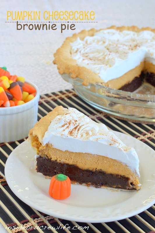 Pumpkin Cheesecake Brownie Pie - 3 layers of fall goodness in one pie http://www.insidebrucrewlife.com
