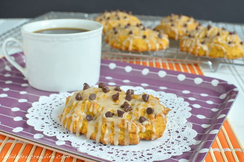 Pumpkin and coffee make a delicious breakfast scone.  Chocolate chips are optional, but I recommend adding them!