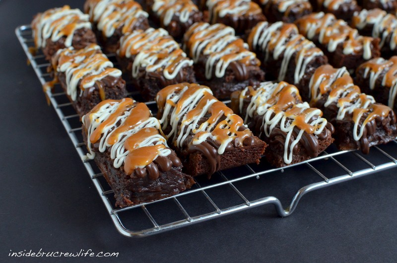 brownies with caramel candies inside and salted caramel and chocolate ...