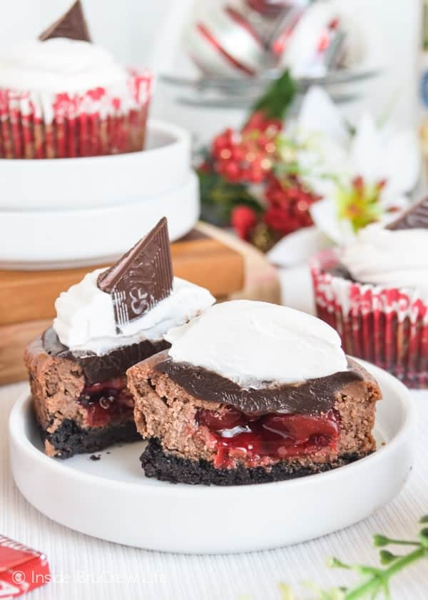 The hidden cherry center in these Cherry Jubilee Chocolate Cheesecakes will have everyone smiling when they bite into them.