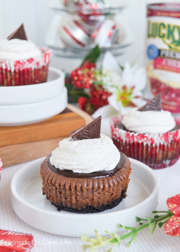 A cherry pie center in these Cherry Jubilee Chocolate Cheesecakes is a fun and festive holiday treat.