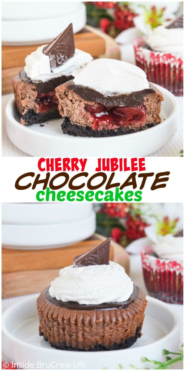 These Cherry Jubilee Chocolate Cheesecakes have a fun hidden cherry pie center and a chocolate topping.