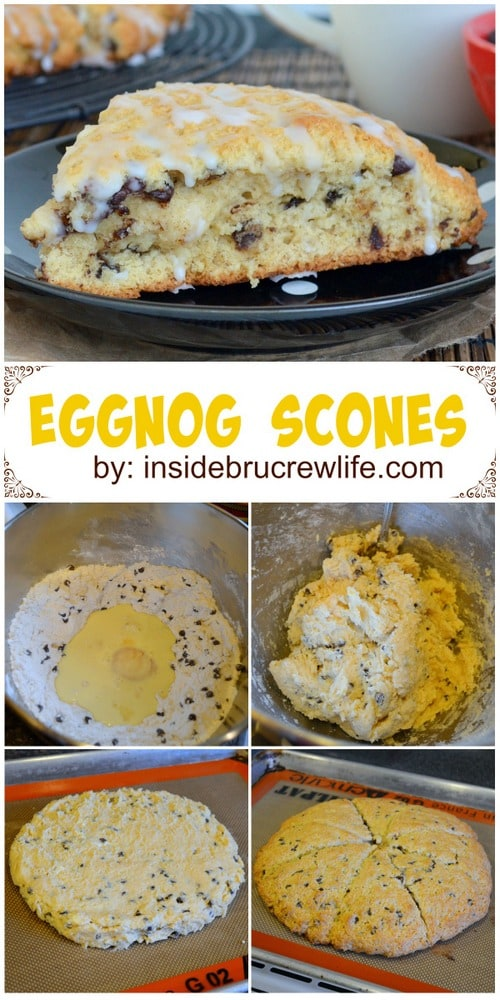 Light fluffy scones made with eggnog, chocolate chips, and eggnog glaze.  Perfect holiday breakfast!