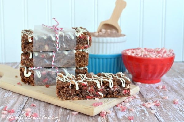 homemade granola bars with hot chocolate and peppermint