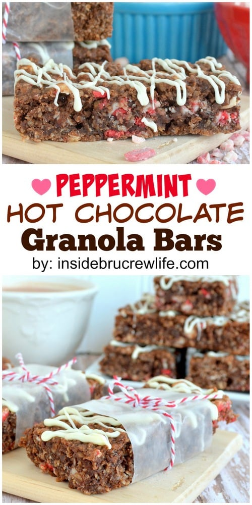 Homemade granola bars loaded with hot chocoalte and peppermint goodness.  Perfect holiday breakfast!