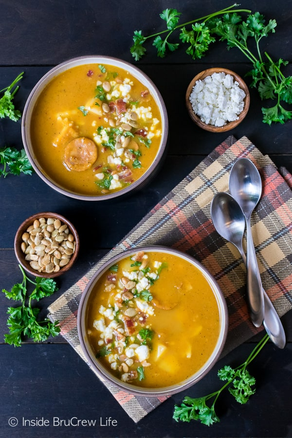 Pumpkin Potato Corn Chowder - this awesome fall soup recipe is loaded with veggies, meat, and noodles. Great dinner to have on the table in under 30 minutes!