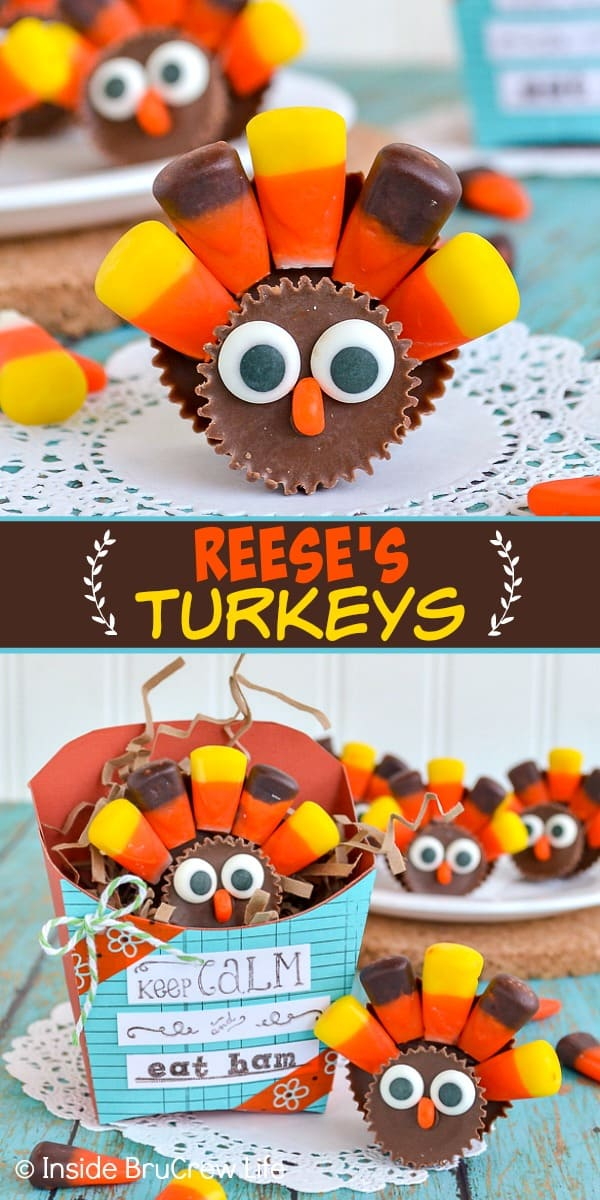 Reese's Turkeys - these cute little turkey treats are made with peanut butter cups and candy corn. Make these fun candy turkeys for each place setting this Thanksgiving. #reeses #peanutbuttercups #turkeyday #thanksgiving #candyturkey