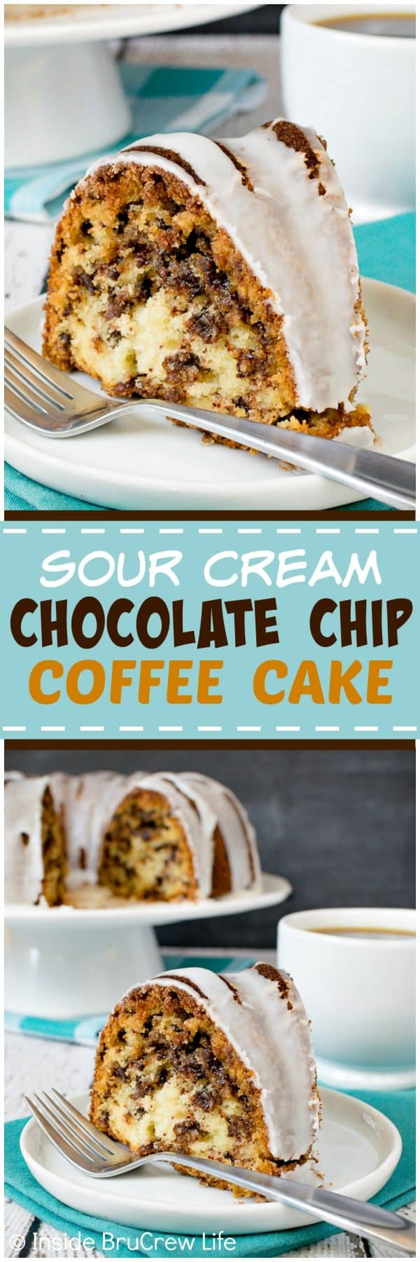 Sour Cream Chocolate Chip Coffee Cake - this coffee cake has a swirl cinnamon sugar inside and a sweet glaze on top. It's the perfect recipe for breakfast or brunch! #breakfast #coffeecake #bundtcake #sweet #recipe #brunch