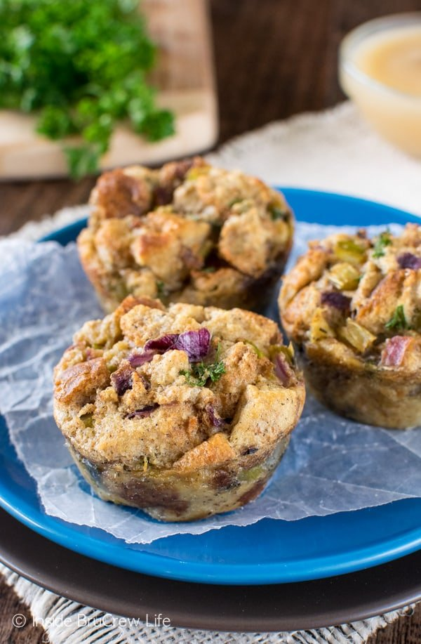Close up of stuffing muffins on a blue plate