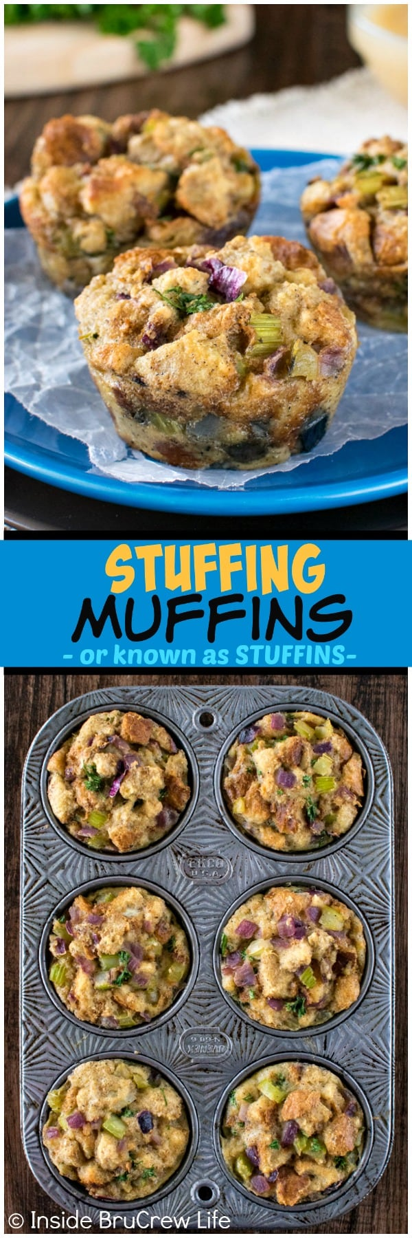 Stuffing Muffins - bake this easy stuffing recipe in a muffin tin for a fun and delicious way to change up the traditional side dish for Thanksgiving! #dinner #stuffing #thanksgiving #holiday #stuffins #sidedish