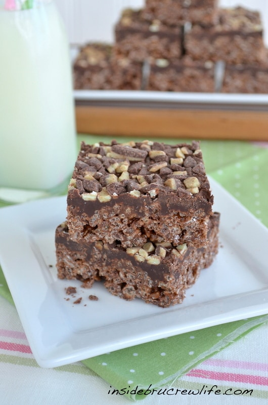 Brownie Mint Rice Krispie Treats