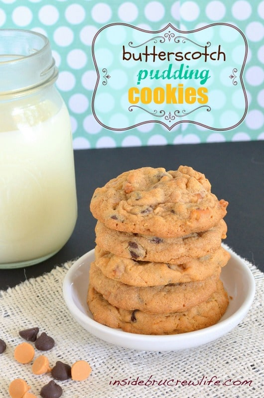 Butterscotch Pudding Cookies from www.insidebrucrewlife.com -butterscotch pudding and pretzel pieces give these cookies a fun sweet and salty twist